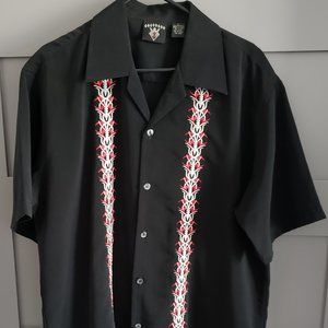 DIAMONDS Tribal Design Short Sleeve Button Down